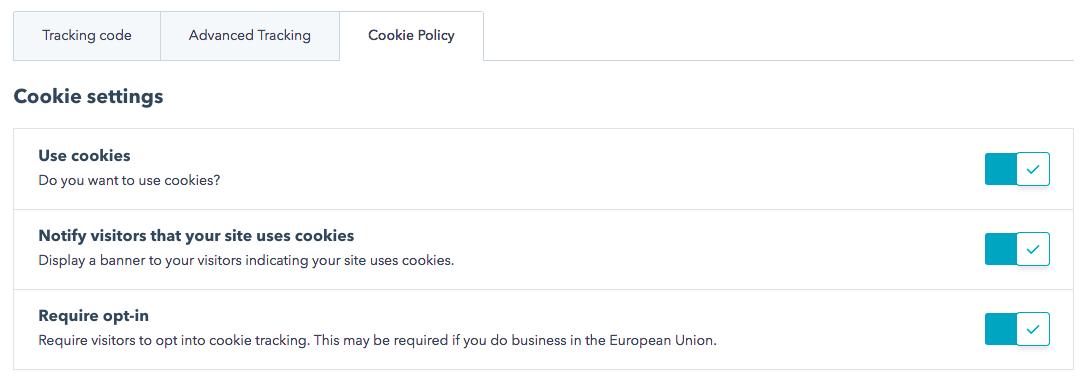 Paramètres de la politique des cookies
