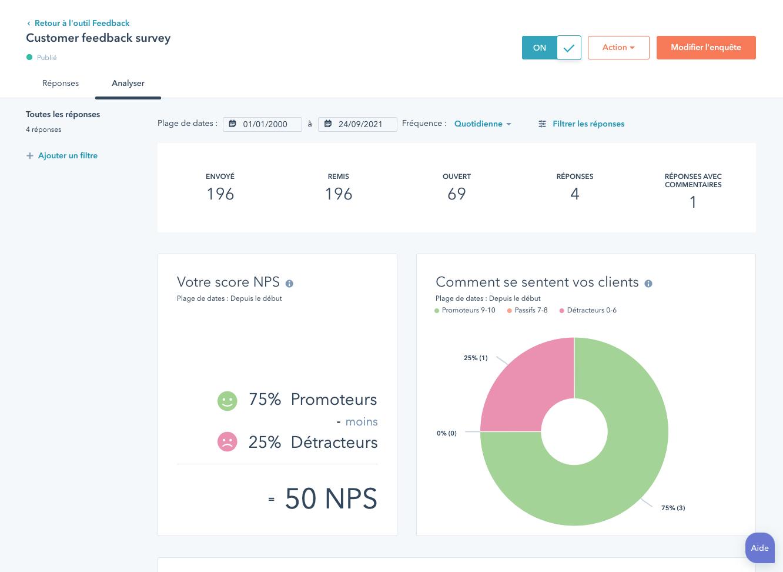 analyse de feedback client après un sondage