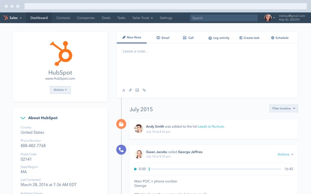 HubSpot CRM - base de données client