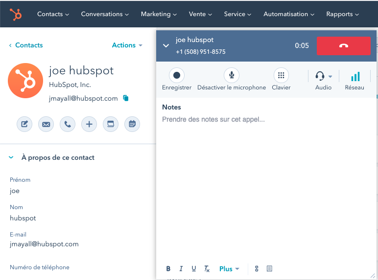 call tracking depuis le crm HubSpot