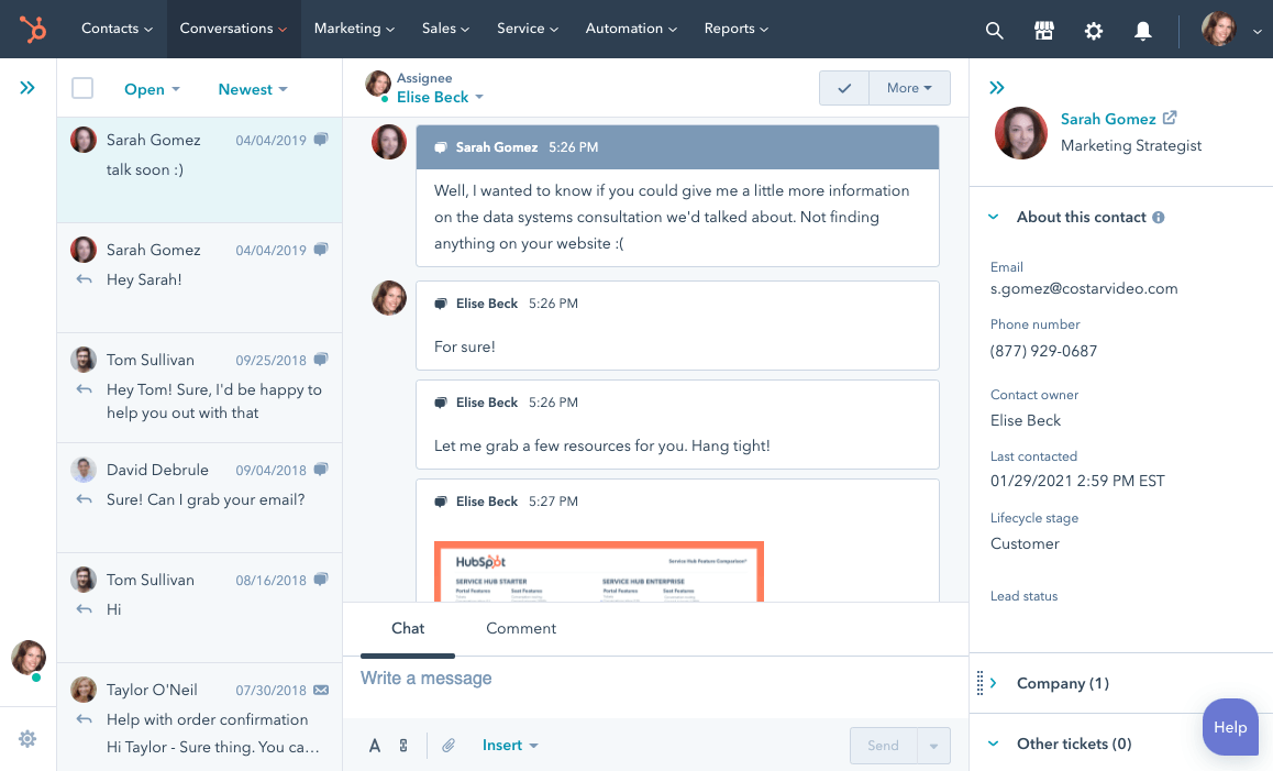 conversations client dans le CRM