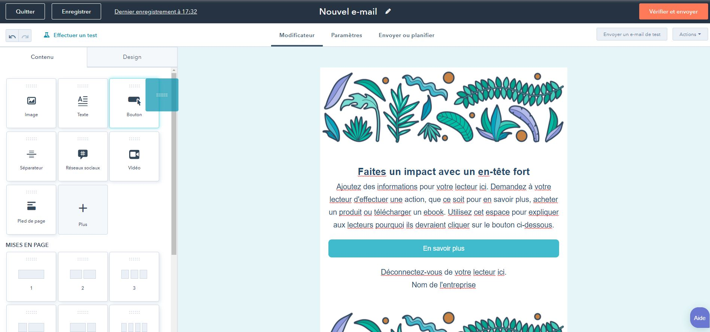 exemple de création de newsletter dans HubSpot