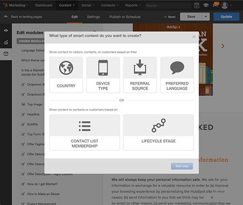 Contenu intelligent pour pages de destination HubSpot