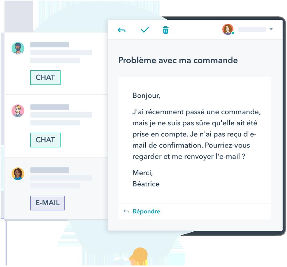 Conversation client via chat ou e-mail consignées dans l'outil de ticketing