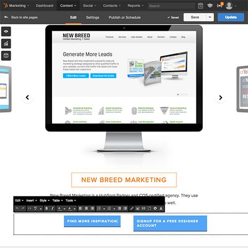 Plate-forme de site web HubSpot - Éditez votre contenu en toute simplicité