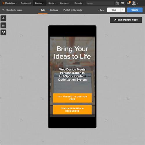 Plate-forme de site web HubSpot - Optimisez votre site web automatiquement pour les mobiles