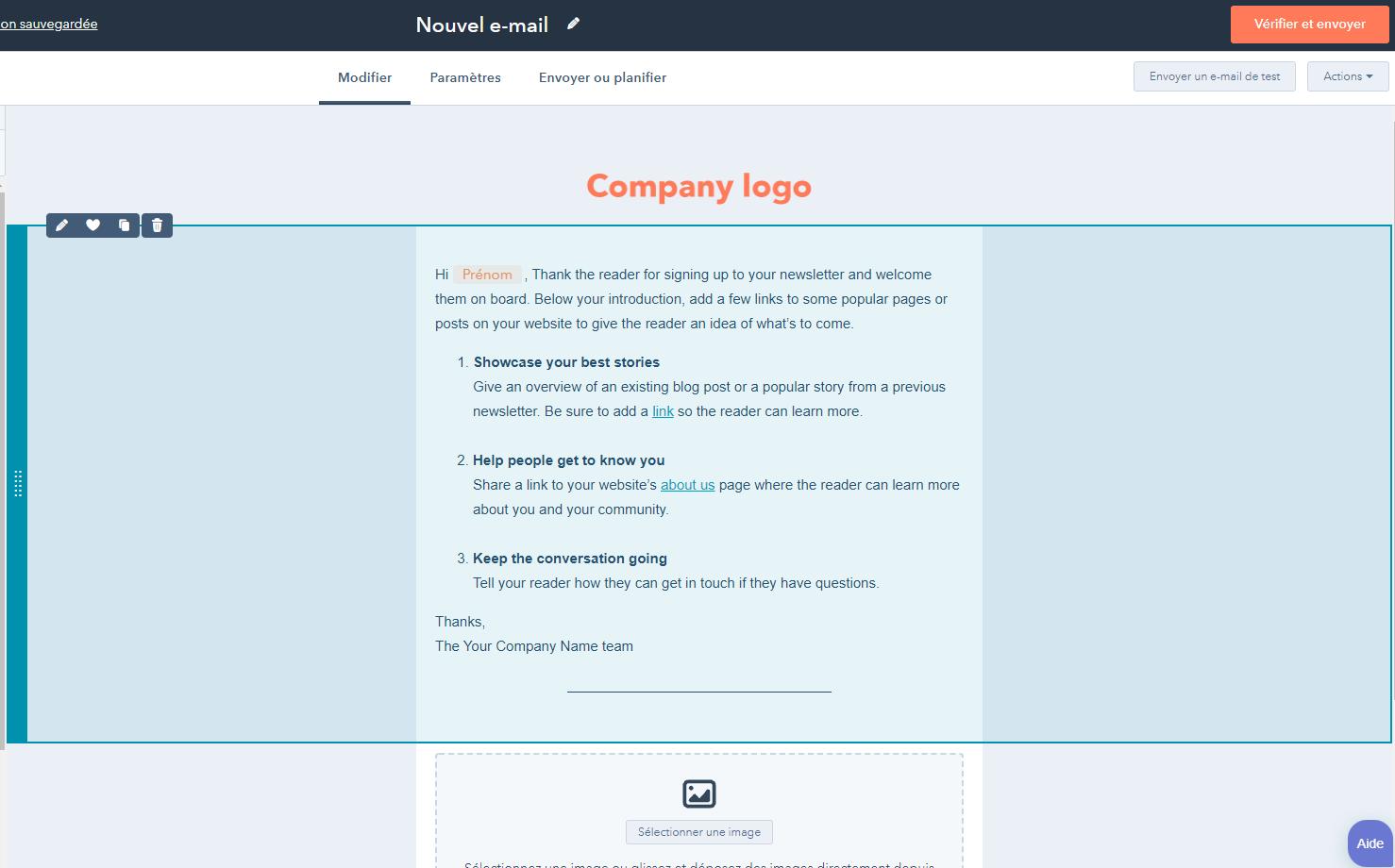 création d'une newsletter drag and drop dans HubSpot